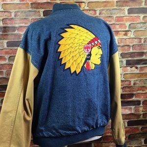Vtg Indian Patch Denim Jacket 1980's Distressed